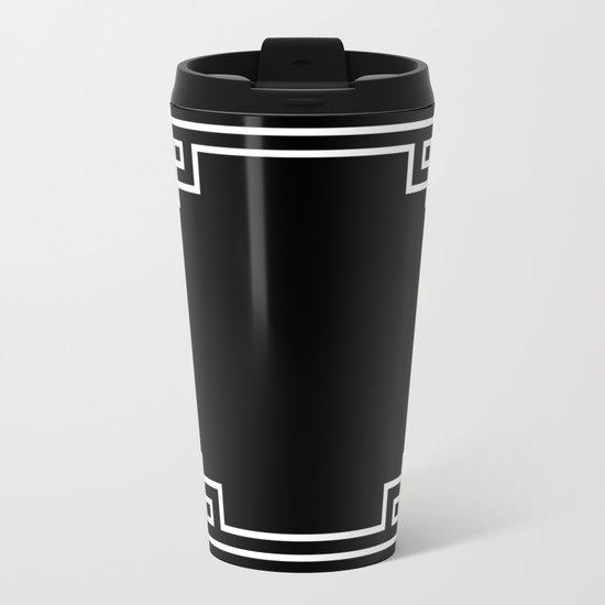 Black White Lattice Frame Metal Travel Mug