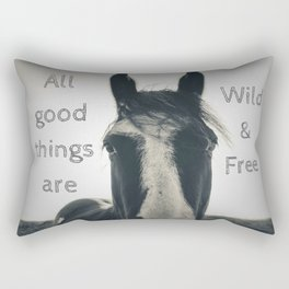 All Good Things are Wild and Free - horse photography sepia, inspirational quote, thoreau art Rectangular Pillow