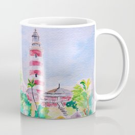 Elbow Reef Lighthouse Hope Town, Abaco, Bahamas Watercolor painting Coffee Mug