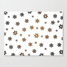 Snowflakes (Bronze and Black on White) Canvas Print