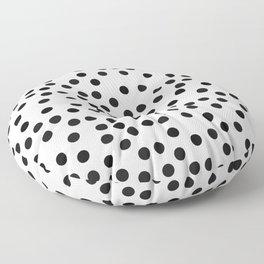 large dots pattern black, woman Floor Pillow