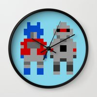optimus prime Wall Clocks featuring Optimus Prime and Megatron / Transformers by Pixel Icons