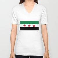 """islam V-neck T-shirts featuring Syrian """"independence flag""""  High quality authentic color and scale version by Bruce Stanfield"""