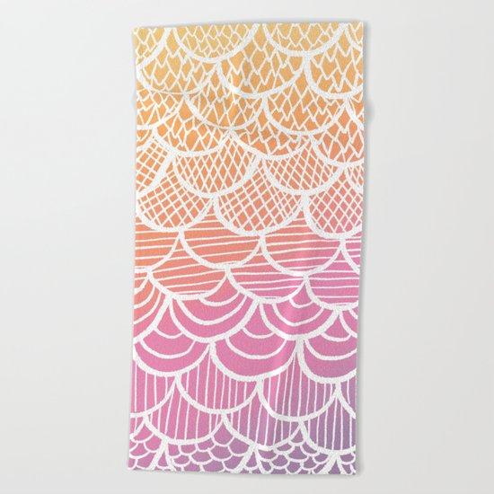 Modern hand drawn summer geometric mermaid scallop pink orange ombre watercolor Beach Towel