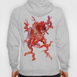 Seahorse red sea world art, corals, Coral red Scarlet Artwork Hoody