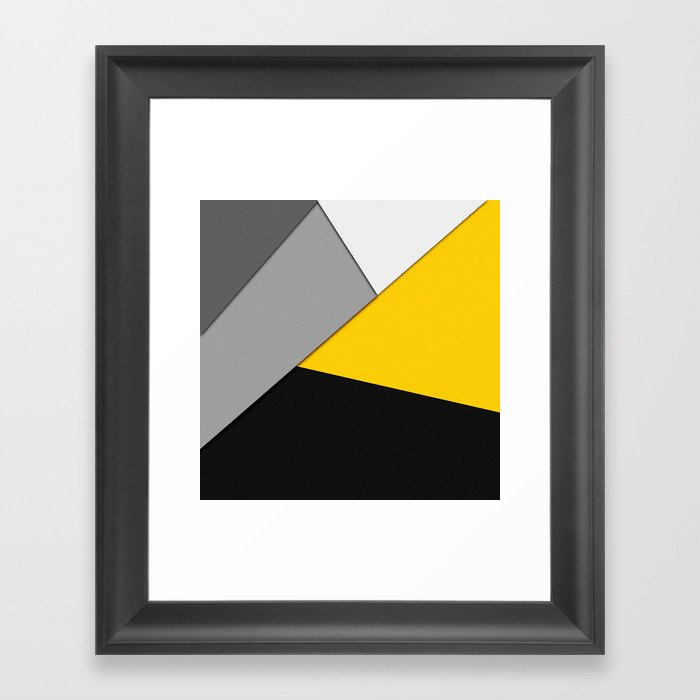 Simple Modern Gray Yellow and Black Geometric Gerahmter Kunstdruck