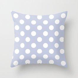 Light periwinkle - grey - White Polka Dots - Pois Pattern Throw Pillow