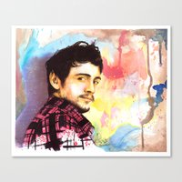 james franco Canvas Prints featuring James Franco by Anguiano Art