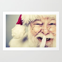 Vintage Looking Santa Claus with fingers on his lips saying be quiet Art Print