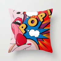 sexy Throw Pillows featuring sexy  by mark ashkenazi