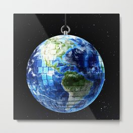 Disco Earth Metal Print