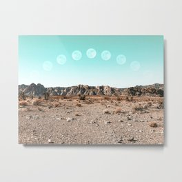 Desert Daylight Moon Ridge // Summer Lunar Landscape Teal Sky Red Rock Canyon Rock Climbing Photo Metal Print