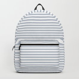 Pale Blue Grey and White Horizontal Stripes Backpack
