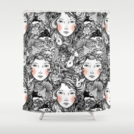 Fantails and Rabbits Ink Design Shower Curtain
