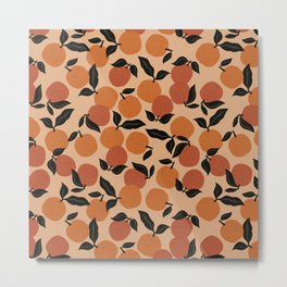 Seamless Citrus Pattern / Oranges Metal Print