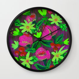 Neon Yellow Magenta Blooms Wall Clock