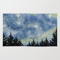 starry night Area & Throw Rugs featuring Starry Night by Astrablink7