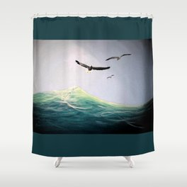 Seaguls Soaring with the Ocean Waves Shower Curtain