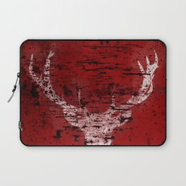 Industrial White Deer Silhouette on Red A313 Laptop Sleeve