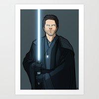 jedi Art Prints featuring Jedi Cas by rdjpwns