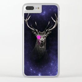 KING - stag antlers deers head, animal t shirt, animal print t shirt, wildlife t shirt, Clear iPhone Case