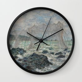 Fishing nets at Pourville Wall Clock