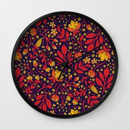 Saturated Red, Yellow & Orange & Dark Navy Blue Floral Pattern Wall Clock