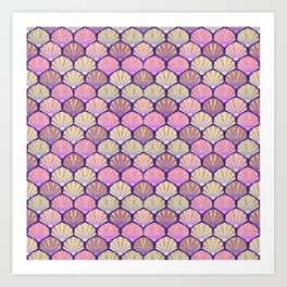 Seashell pink and lilac for mermaids Art Print