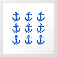 anchors Art Prints featuring Anchors by Chilligraphy