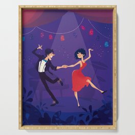 Dancing night couple Serving Tray