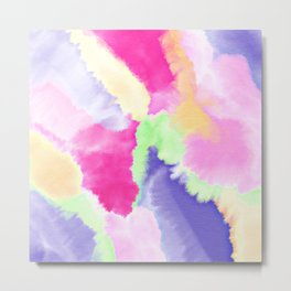 Modern bright pink purple green hand painted watercolor wash pattern Metal Print