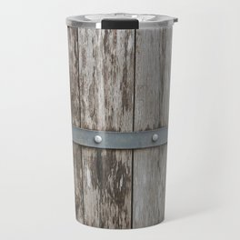 Wood With Metal Strap Travel Mug