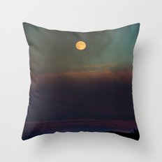 Sunset and moon rise Throw Pillow