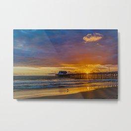 Lone Seagull at Sunset - Newport Pier Metal Print
