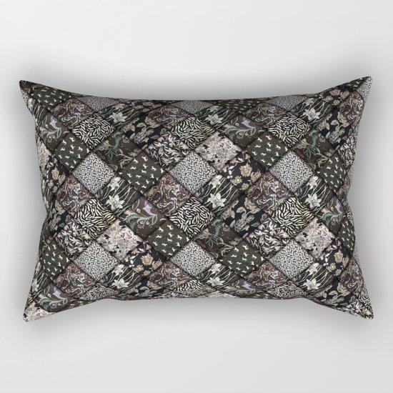 Faux Patchwork Quilting - Black Rectangular Pillow