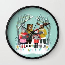 Woodland Christmas Carols by Andrea Lauren  Wall Clock