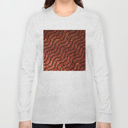 Red Glitter With Black Squiggle Pattern Long Sleeve T-shirt