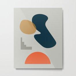 Abstract # 2 Grey Blue Orange Metal Print