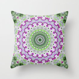 Purple Wildflower Kaleidoscope Art 4 Throw Pillow