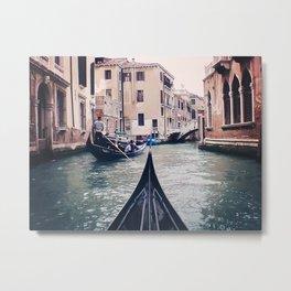 Venice by Gondola   Photograph Metal Print