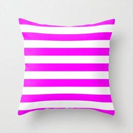 Horizontal Stripes (Fuchsia/White) Throw Pillow