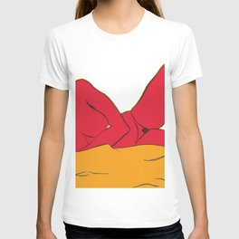 The reclining red female T-shirt
