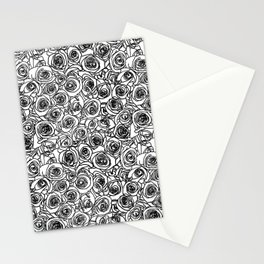 Seamless black and white rose line drawing Stationery Cards
