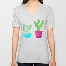 Watercolor Succulent Cactus Pattern Unisex V-Neck