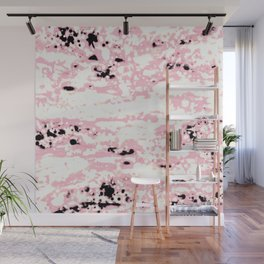 Lava Pattern Abstract Rosé and White Wall Mural