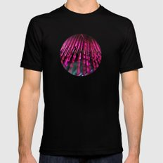 Pink Feathers Mens Fitted Tee Black MEDIUM