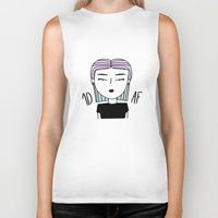 fangirl Biker Tanks featuring SHE: FANGIRL by SaladInTheWind