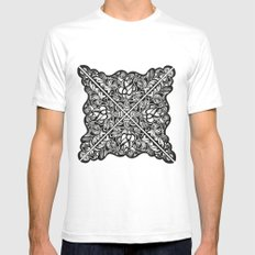 Black Lotus Lace Illustration Pattern SMALL White Mens Fitted Tee