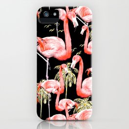 Pattern of flamingos among golden palm trees I iPhone Case