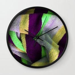 Multicolor Stripe Textile 4 Wall Clock